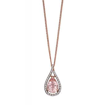 Joshua James Precious 9ct Rose Gold With Morganite & Diamond Teardrop Pendant