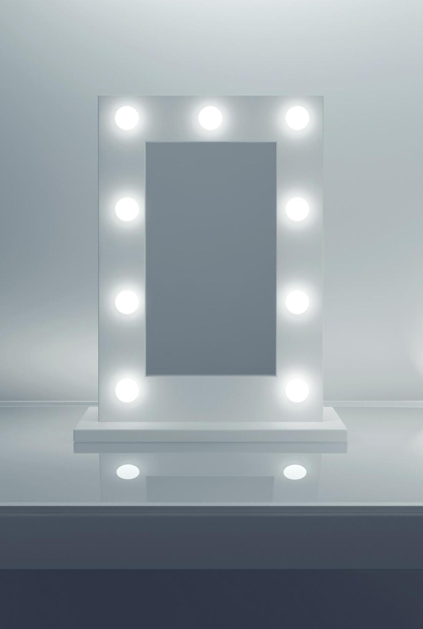 Anastasia White High Gloss Mirror (Petite) k217LEDEN