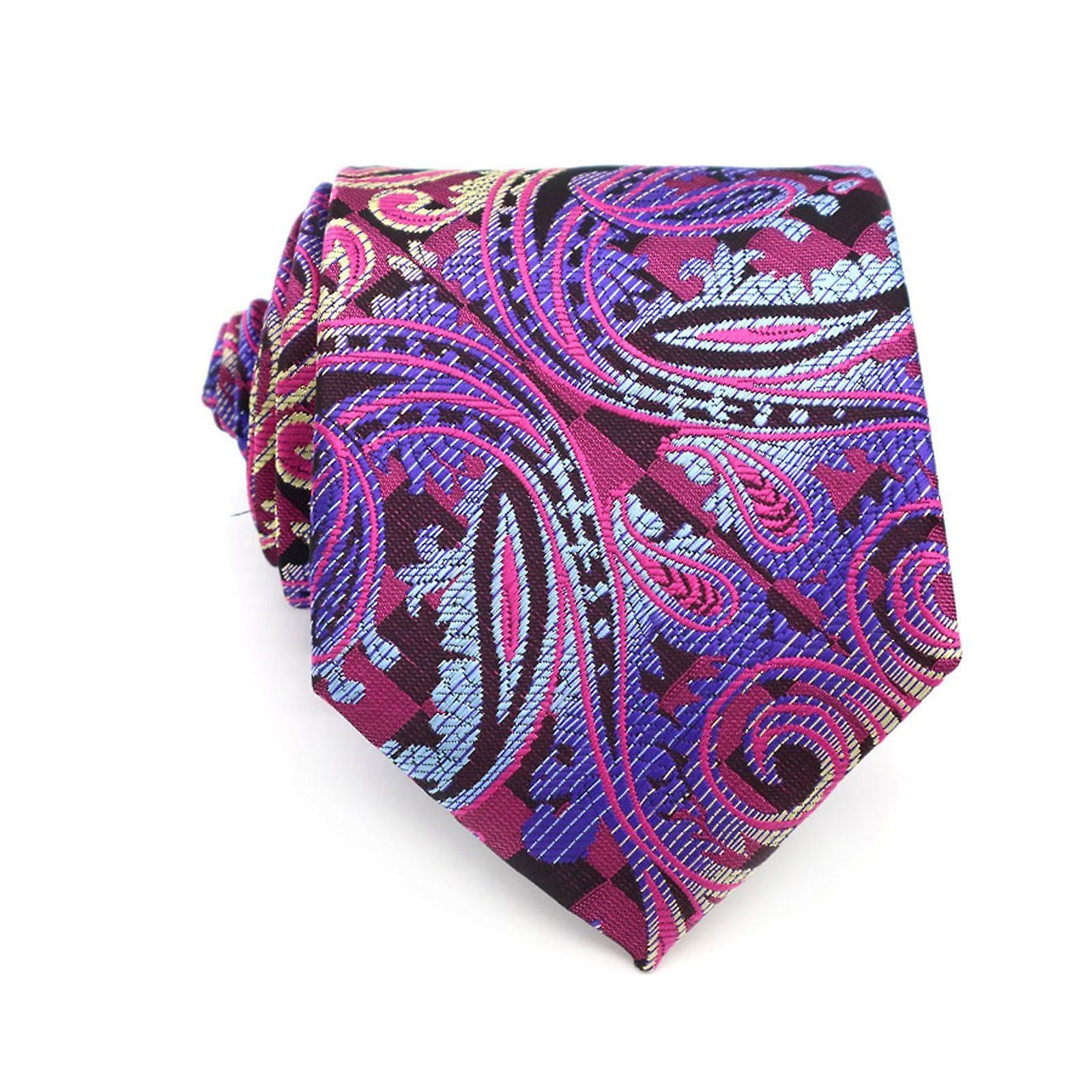 Pink blue & yellow paisley pattern pocket square & tie