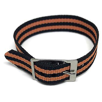 Nylon watch strap 2 stripe black and orange with stainless steel buckle 14mm to 20mm