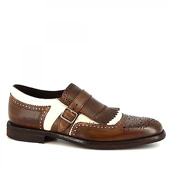Men's handmade loafers shoes with buckle and fringe in dark brown goat leather