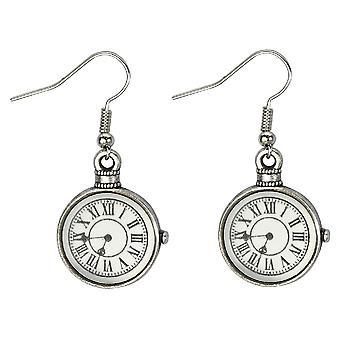 Vintage Clock Design Drop Earrings