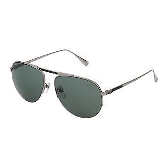 Dunhill SDH139M 579P Total Shiny Palladium/Polarised Grey-Green Sunglasses
