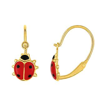 rød bille øredobber laqu es gult gull 18 karat (18k)