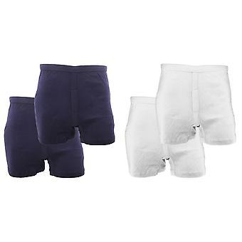 FLOSO Mens 100% katoenen Interlock Trunk ondergoed (Pack van 2)