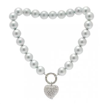 Nour London Pearl Necklace With Diamante Heart