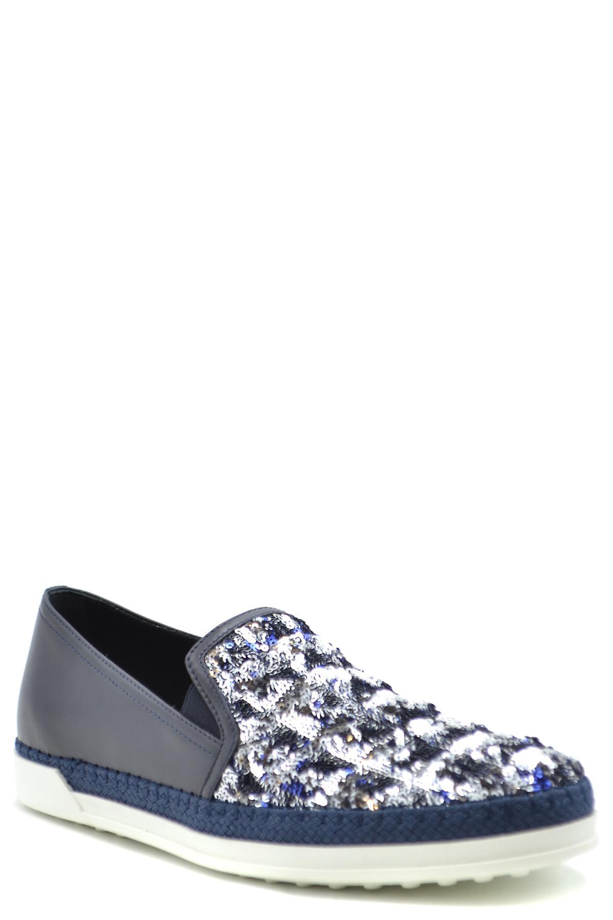 Tod's Ezbc025073 Dames's Blue Leather Loafers CncjJk