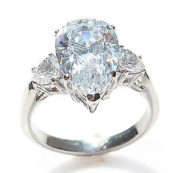 اه! المجوهرات الفولاذ المقاوم للصدأ 9ct الكمثرى قص خاتم. مختومة 316. لاب الماس. 15mm مركز الحجر.