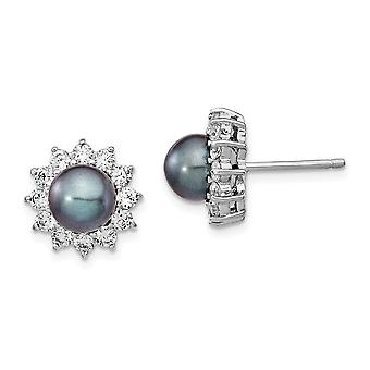 Cheryl M 925 Sterling Silver CZ Cubic Zirconia Simulated Diamond and Fwc Grey Pearl Stud Post Earrings Measures 11.74x11