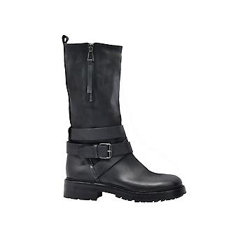 Strategia A4178blk Women's Black Leather Ankle Boots