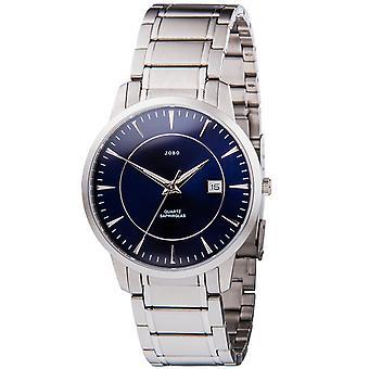 Relógio quartzo analógico aço inoxidável data JOBO homens relógio azul