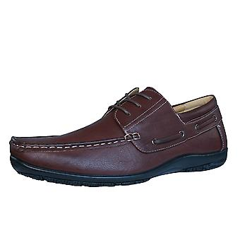 Brickers Mens Lace Up Moccasins / Shoes - Brown