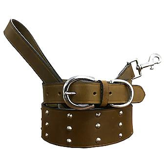 Bradley crompton genuine leather matching pair dog collar and lead set bcdc7khakibrown