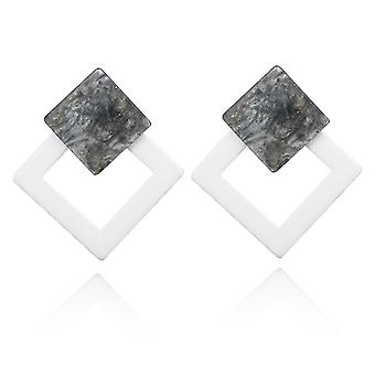 White Acrylic Resin Square Drop Earrings