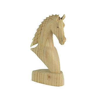 16 Inch High Hand Carved Wooden Natural Finish Horse Bust Tabletop Statue