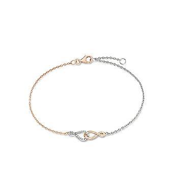 Amor braccialetto da donna infinity bicolore argento teilros?vergoldet 925�e zirconi bianchi lunghezza regolabile 19�+ 2�cm�?�537254