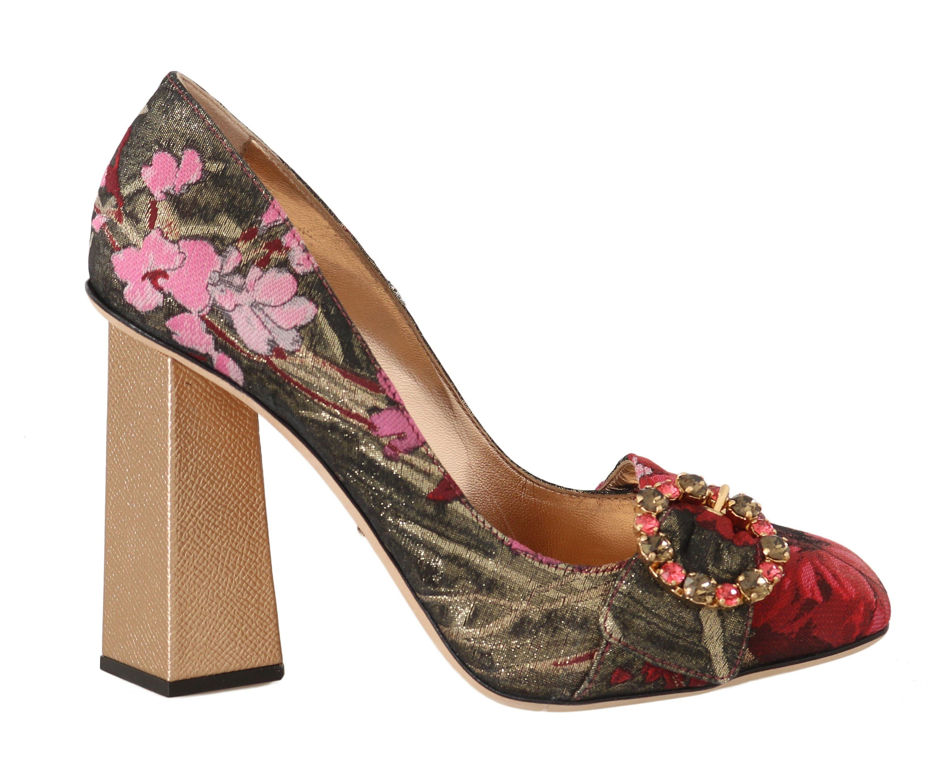 Dolce & Gabbana Red Jacquard Floral Crystal Pumps -- LA53299632 if4Ew