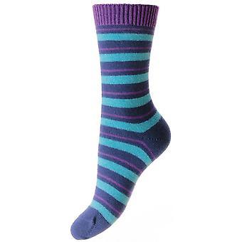 Pantherella Sally Striped Cashmere Luxury Socks - Dark Blue