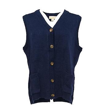 Appleseed & apos;s Women & apos;s Petite Sweater V-Neck Vest Vest Dark Blue