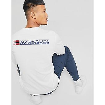 New Napapijri Men's Long Sleeve Pocket T-Shirt White