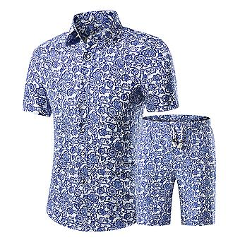 Allthemen Men's Cotton Printed Short-Sleeved Shirt Two Pieces Sets