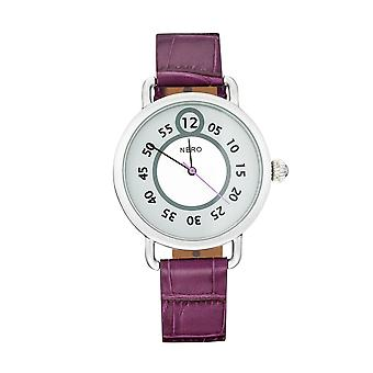 Nero 96 Nuovo Ladies' Plum Italian Leather Strap Quartz Watch - Plum