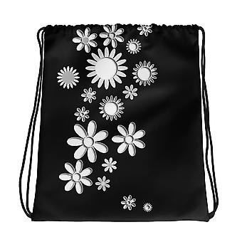 Kiristysnyöri laukku | Valkoiset kukat
