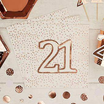 Rose Gold Spotty 21st Birthday Paper Party Napkins x 16 - 3ply