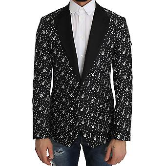Dolce & Gabbana Black Silk Jazz Guitar Blazer Jacket