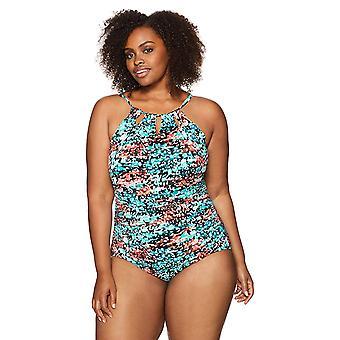 Coastal Blue Women & apos, s Plus Size Control One Piece Baddräkt, Spotted, 1X (16W-1...
