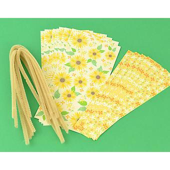 Cracker Wraps & Ties for 8 Crackers - Girassóis de Tons Mudos