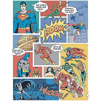 Galerie Wallcoverings Galerie Official Superman Batman Flash Comic Superhero Childrens Multi Coloured Wallpaper