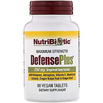 NutriBiotic, DefensePlus, Maximale sterkte, 90 Veganistische tablets