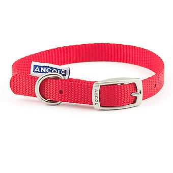 Ancol Nylon Buckle Collar - Red - 12 inch