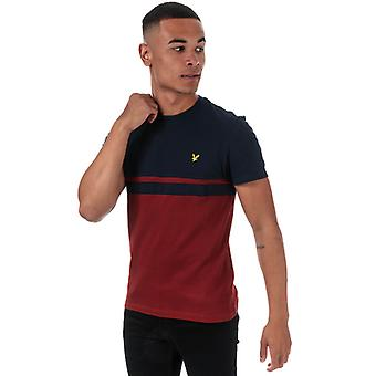 Men's Lyle And Scott Panel Stripe T-Shirt in Blue