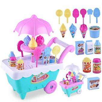 Lovely Simulation Candy Lollipop Ice Cream Plastic Trolley Children Girls Speelgoed (willekeurige kleur)