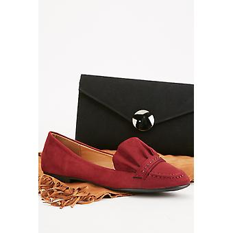 Ruffle Trim Suedette Loafers