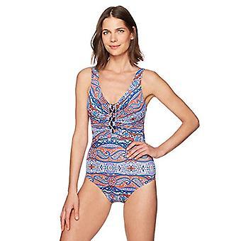 Merk - Coastal Blue Women's Control One Piece Swimsuit, Bohemen, L (12-14)
