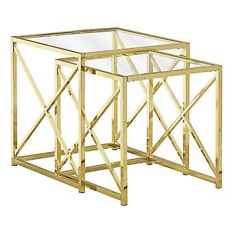 NESTING TABLE - 2PCS SET / GOLD METAL WITH TEMPERED GLASS