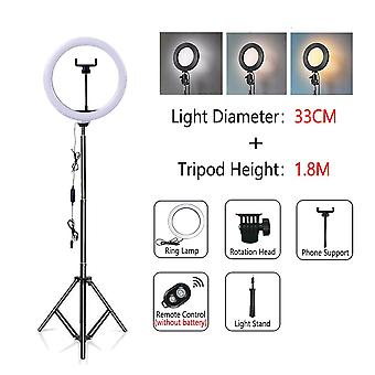 Dimmable Led Selfie Ring Light With Tripod Usb Lamp Big Photography With Stand For Cell Phone/studio