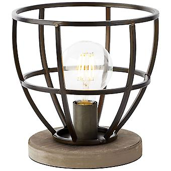 BRILLIANT Lamp Matrix Trä Bordslampa 25cm Svart Antik | 1x G95, E27, 60W, lämplig för normala lampor (ingår ej)
