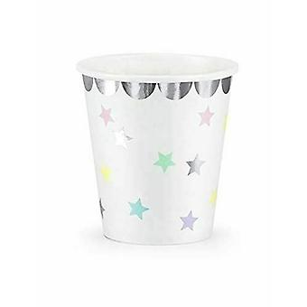 Pastel and Silver Star Paper Cups Set of 6 Unicorn Xmas Party
