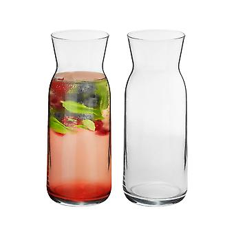 2 Piece Brocca Glass Water Carafe Set - Decanter Jug for Water, Wine, Iced Tea - 700ml