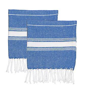 Nicola Spring 100% Turkse Katoen Micro Handdoek Set | Travel Gym Kitchen Tea Cloth - Navy - Pack van 2