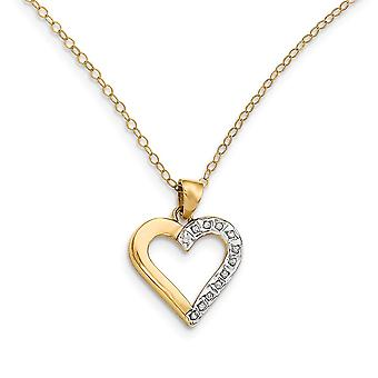 925 Sterling Silver Polished Gift Boxed Spring Ring and 14k Gold Plated Dia. Mystique 18inch Love Heart Necklace Jewelry