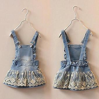 Baby Lace Denim Suspender Bib Skirts Cute Straps Skirt Bebe Clothes 2 3y