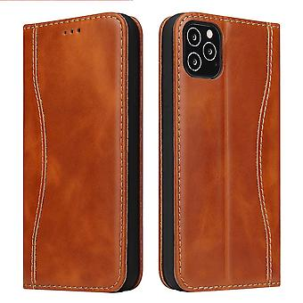 For iPhone 12 Pro Max Case Brown Genuine Cowhide Leather Wallet Cover