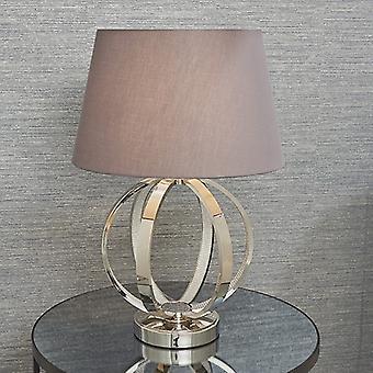 Endon Belysning Ritz & Evie - bordslampa Bright Nickel Plate & Charcoal Grå Bomull 1 Ljus IP20 - E27