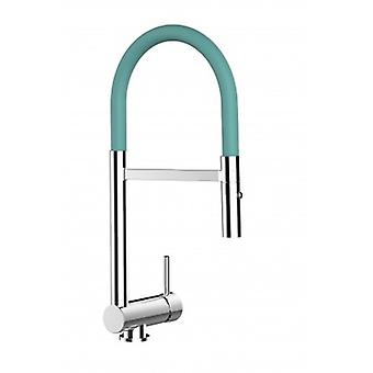 Sous-fenêtre à levier unique Kitchen Sink Mixer Turquoise Folding Spout And 2 Jets Shower - 126