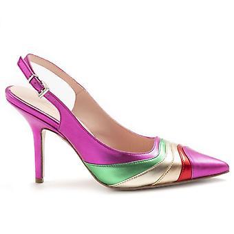Damen Slingback Schuhe Anna F In Fuchsia Leder und Multicolor